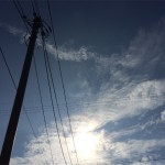 空020(電柱と電線と太陽)