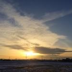 風景044(雪と夕焼け)