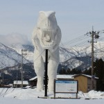 風景057(雪の中の恐竜)