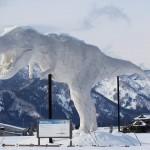 風景058(雪の中の恐竜)