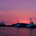 風景060(夕暮れの港)