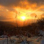 風景085(雪景色の夕陽)